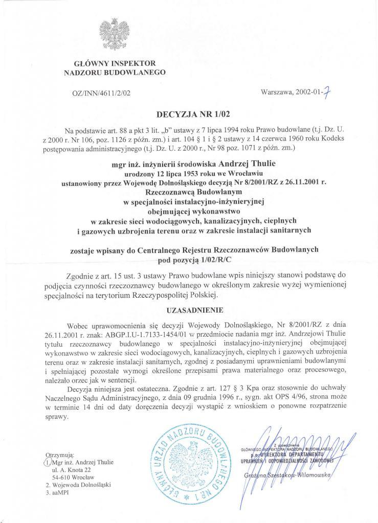 certyfikat 2002 rzeczoznawcy budowlanego