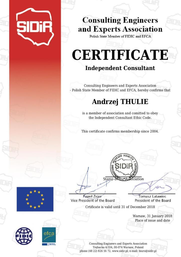 certyfikat 2018 sidir niezaleznego konsultanta po angielsku
