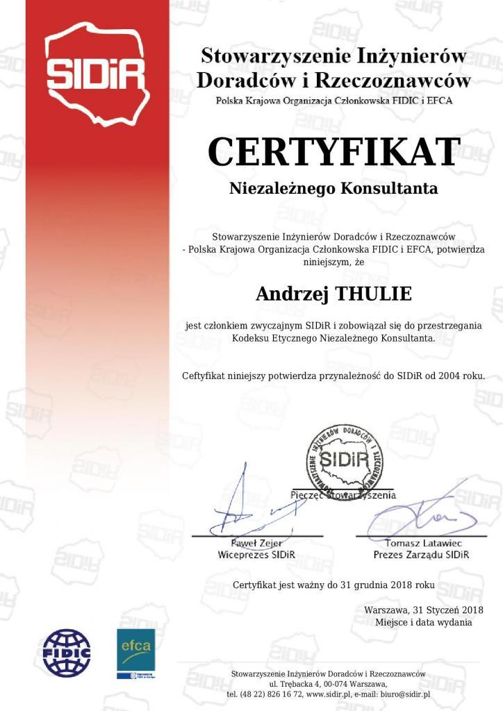 certyfikat 2018 sidir niezaleznego konsultanta po polsku